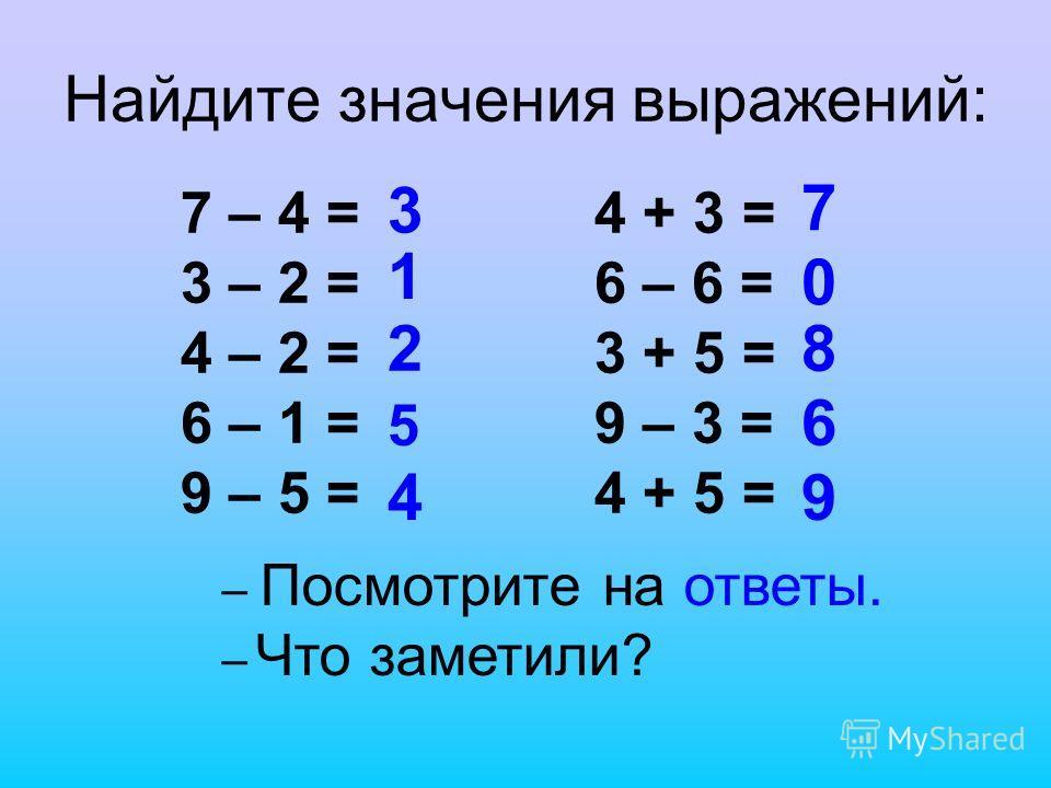 Найдите значения выражений: 7 – 4 = 3 – 2 = 4 – 2 = 6 – 1 = 9 – 5 = 4 + 3 = 6 – 6 = 3 + 5 = 9 – 3 = 4 + 5 = 3 1 2 5 4 7 0 8 6 9 – Посмотрите на ответы. – Что заметили?