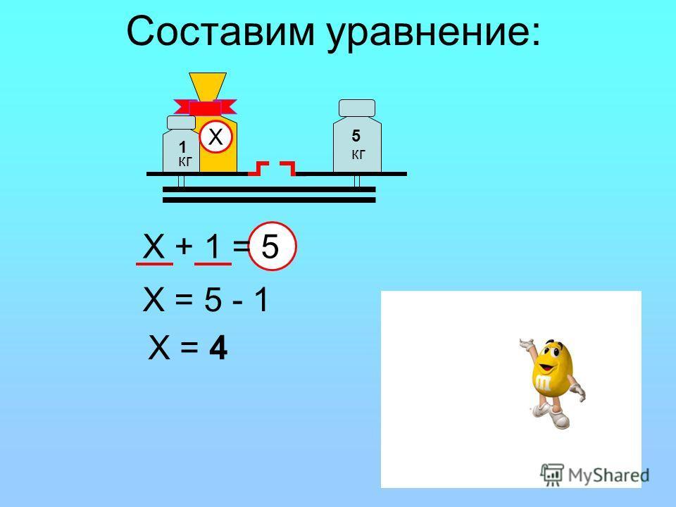 5 кг 1 Х Составим уравнение: Х + 1 = 5 Х = 5 - 1 Х = 4