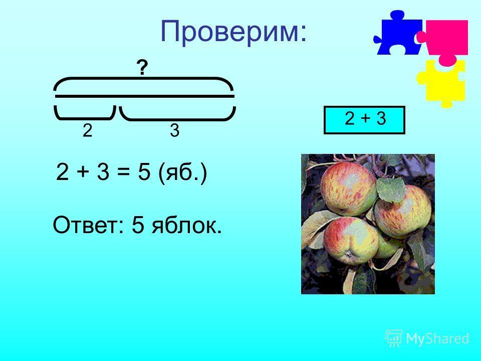 Проверим: ? 23 2 + 3 = 5 (яб.) 2 + 3 Ответ: 5 яблок.