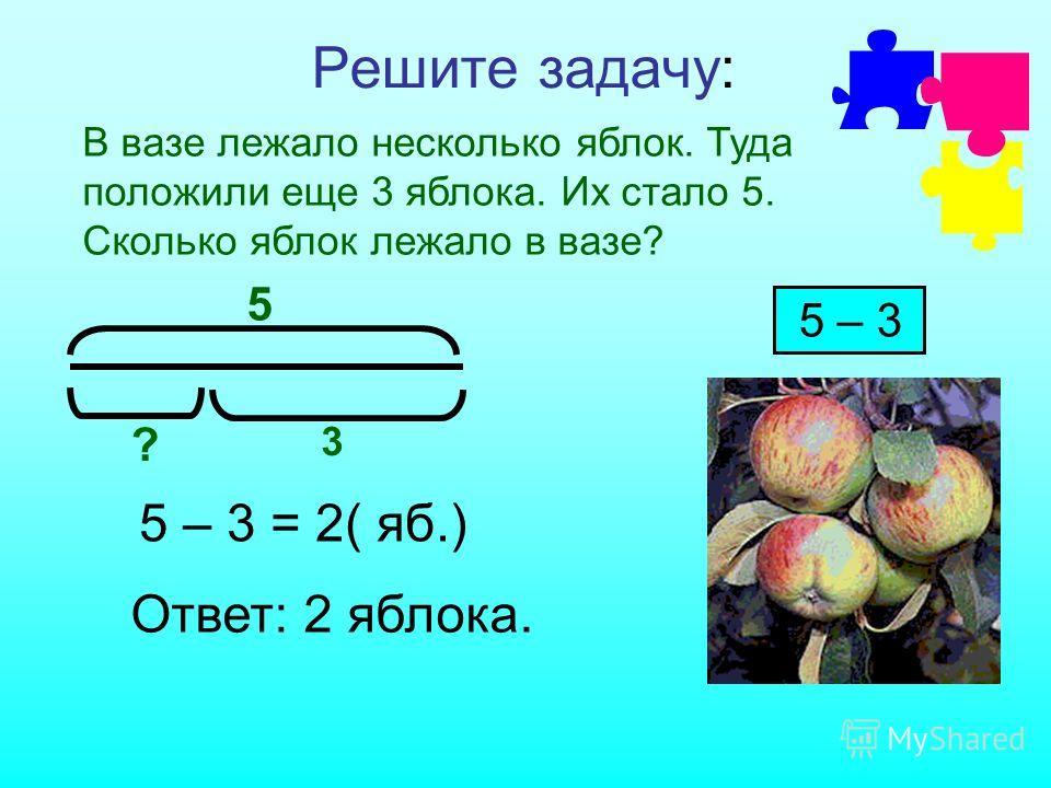 Решите задачу: В вазе лежало несколько яблок. Туда положили еще 3 яблока. Их стало 5. Сколько яблок лежало в вазе? 5 ? 3 5 – 3 5 – 3 = 2( яб.) Ответ: 2 яблока.