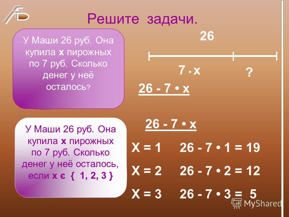 Решите задачи. У Маши 26 руб. Она купила х пирожных по 7 руб. Сколько денег у неё осталось ? У Маши 26 руб. Она купила х пирожных по 7 руб. Сколько денег у неё осталось, если х є { 1, 2, 3 } 26 - 7 х ? 7 х 26 26 - 7 х Х = 1 26 - 7 1 = 19 Х = 2 26 - 7