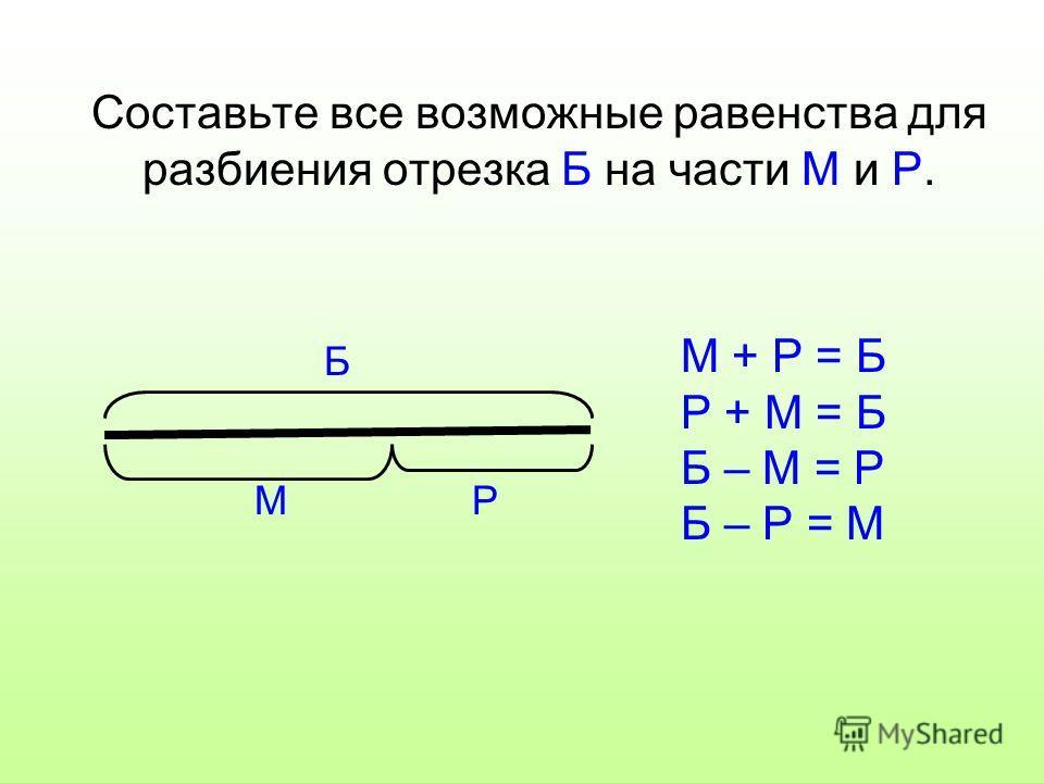 Составьте все возможные равенства для разбиения отрезка Б на части М и Р. Б РМ М + Р = Б Р + М = Б Б – М = Р Б – Р = М