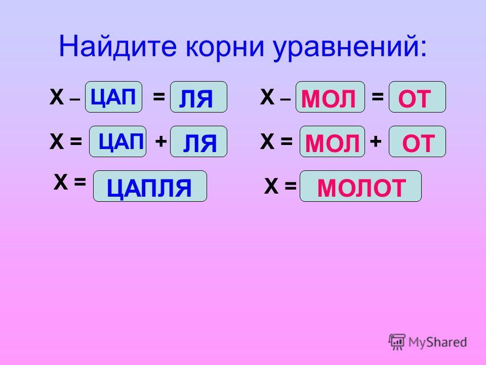Найдите корни уравнений: = Х = Х – ЦАП ЛЯ ЦАП+ ЛЯ ЦАПЛЯ Х = МОЛОТ = МОЛОТ + МОЛОТ