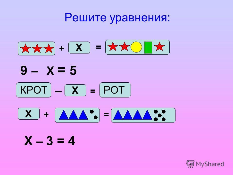 9 – Х = 5 Решите уравнения: + Х = КРОТ – Х = РОТ Х += Х – 3 = 4
