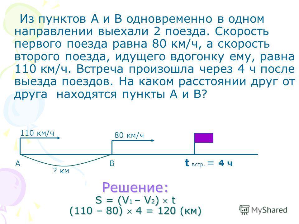 Из пунктов А и В одновременно в одном направлении выехали 2 поезда. Скорость первого поезда равна 80 км/ч, а скорость второго поезда, идущего вдогонку ему, равна 110 км/ч. Встреча произошла через 4 ч после выезда поездов. На каком расстоянии друг от