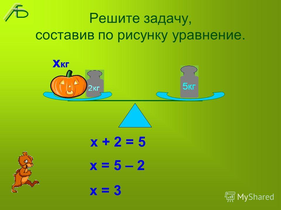 Решите задачу, составив по рисунку уравнение. х + 2 = 5 х кг х = 5 – 2 х = 3 х кг