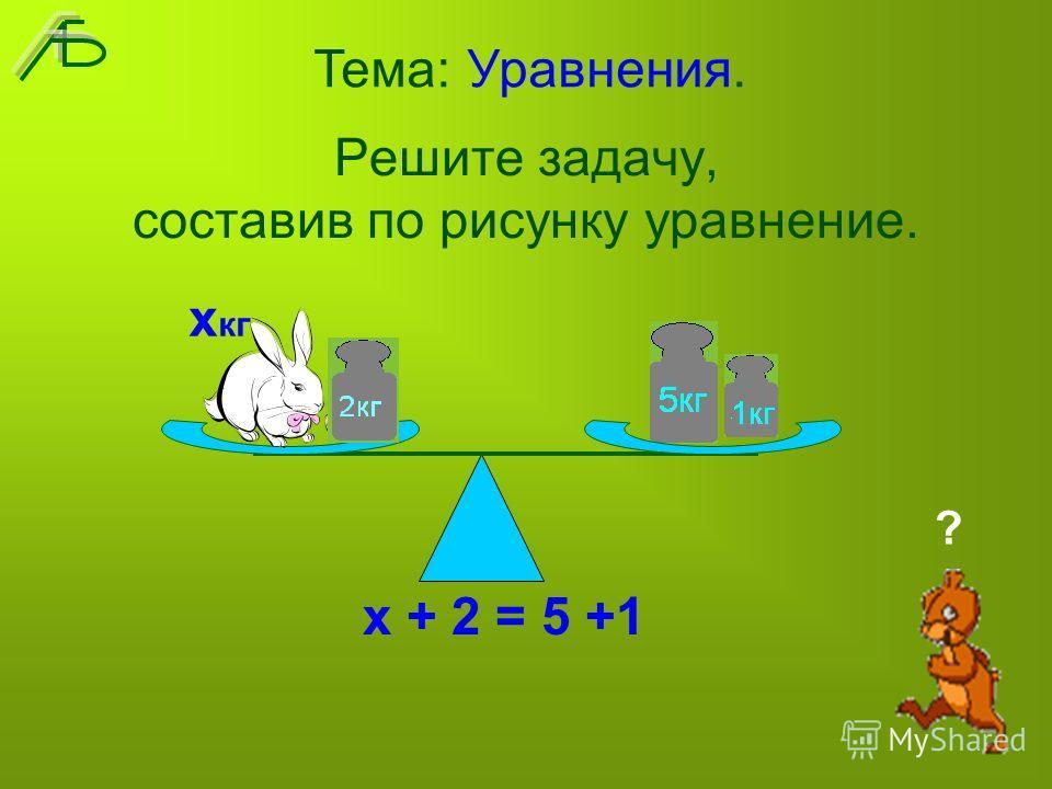 Решите задачу, составив по рисунку уравнение. х + 2 = 5 +1 Тема: Уравнения. х кг ?