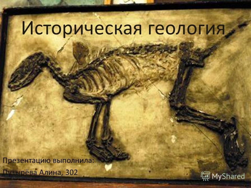 Историческая геология Презентацию выполнила: Пузырёва Алина, 302