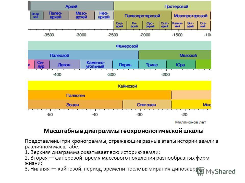 Масштабные диаграммы геохронологической шкалы Представлены три хронограммы, отражающие разные этапы истории земли в различном масштабе. 1. Верхняя диаграмма охватывает всю историю земли; 2. Вторая фанерозой, время массового появления разнообразных фо