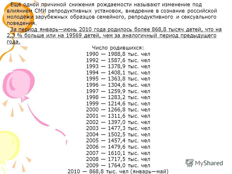 Ещё одной причиной снижения рождаемости называют изменение под влиянием СМИ репродуктивных установок, внедрение в сознание российской молодёжи зарубежных образцов семейного, репродуктивного и сексуального поведения. За период январьиюнь 2010 года род