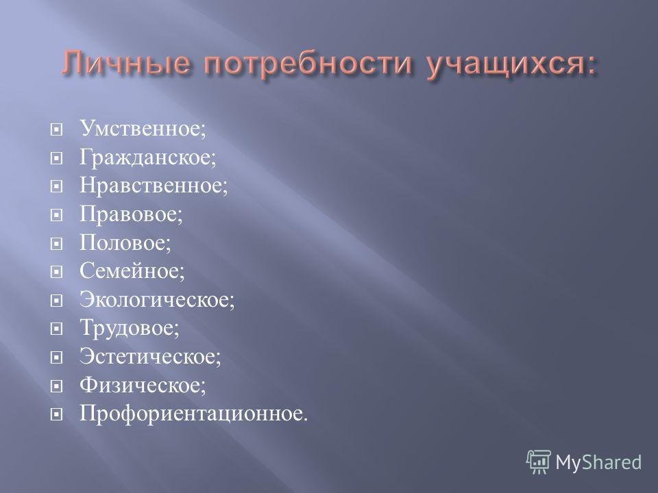Умственное ; Гражданское ; Нравственное ; Правовое ; Половое ; Семейное ; Экологическое ; Трудовое ; Эстетическое ; Физическое ; Профориентационное.