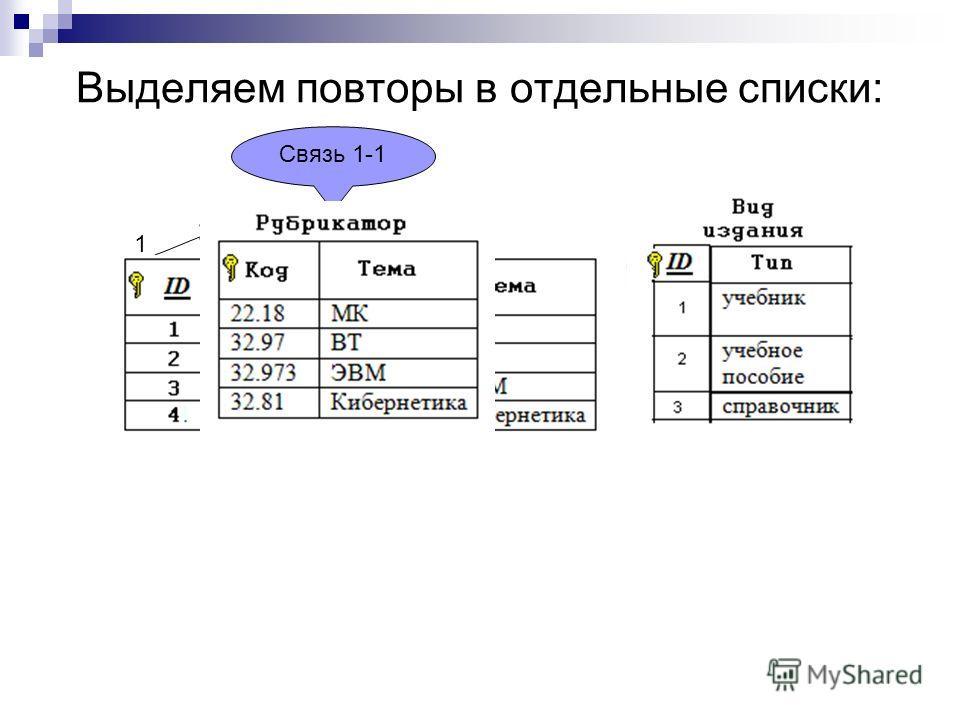 Выделяем повторы в отдельные списки: Связь 1-1 1 1