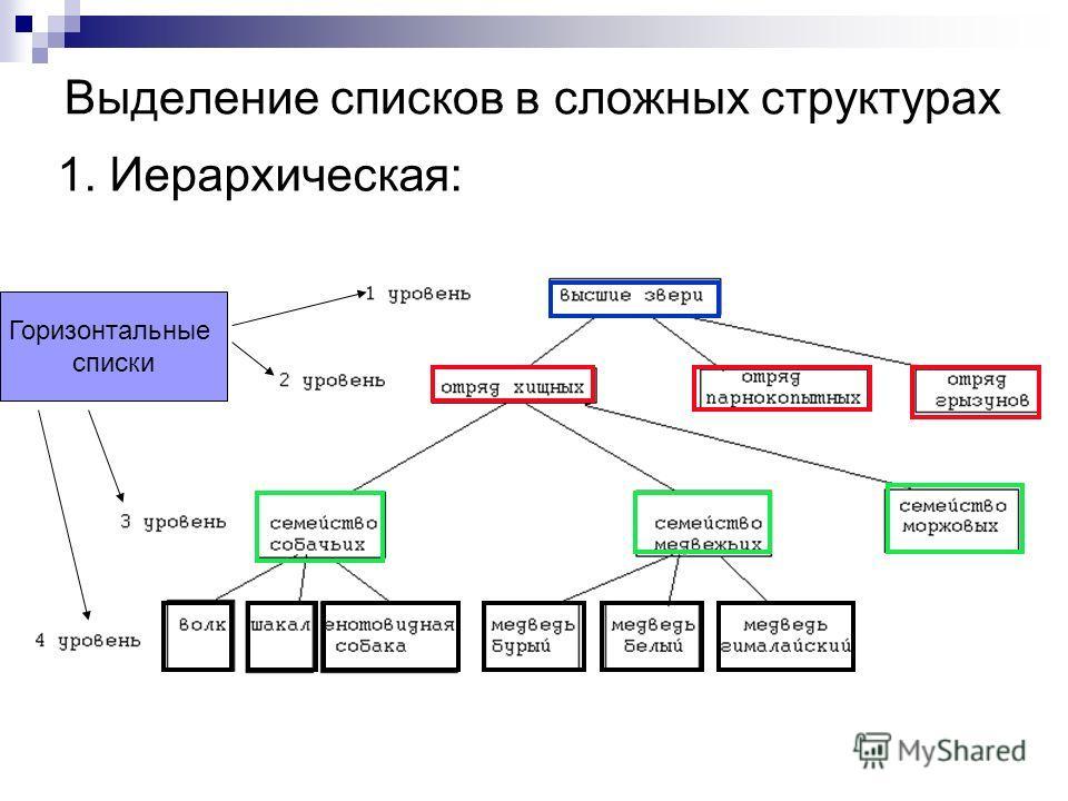 Выделение списков в сложных структурах 1. Иерархическая: Горизонтальные списки