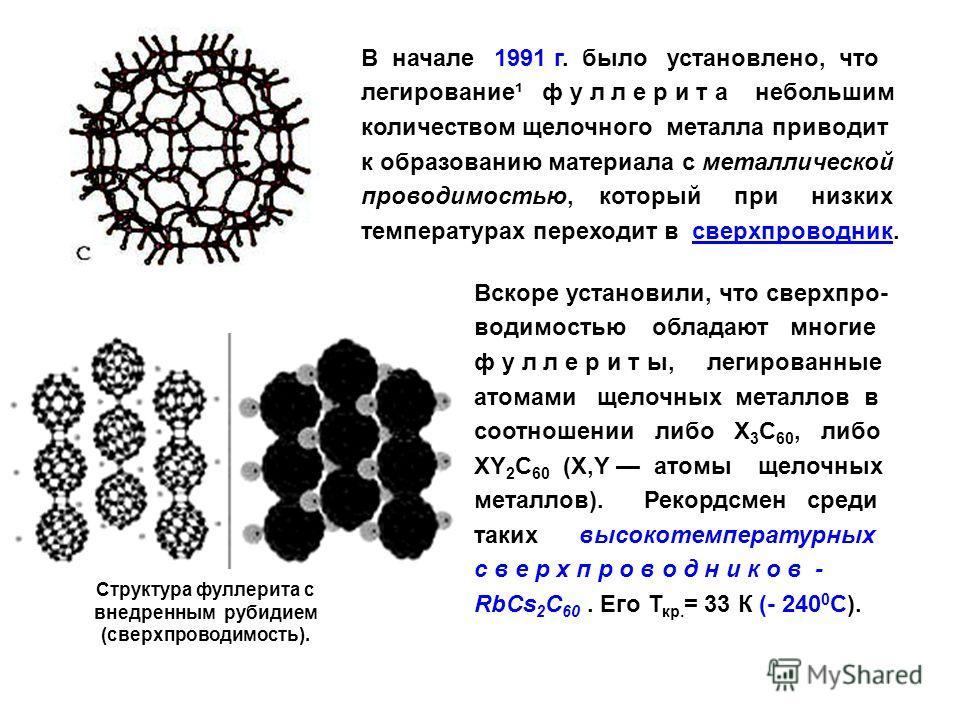 В начале 1991 г. было установлено, что легирование¹ ф у л л е р и т а небольшим количеством щелочного металла приводит к образованию материала с металлической проводимостью, который при низких температурах переходит в сверхпроводник.сверхпроводник Вс
