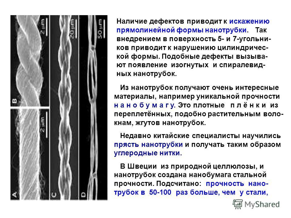 Из нанотрубок получают очень интересные материалы, например уникальной прочности н а н о б у м а г у. Это плотные п л ё н к и из переплетённых, подобно растительным воло- кнам, жгутов нанотрубок. Недавно китайские специалисты научились прясть нанотру