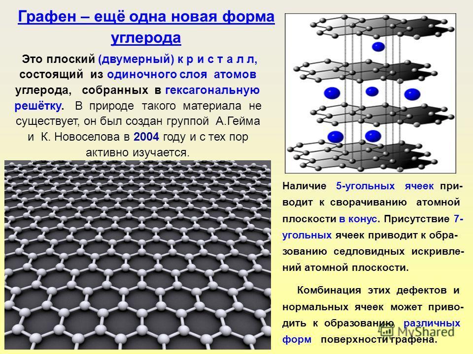Графен – ещё одна новая форма углерода Это плоский (двумерный) к р и с т а л л, состоящий из одиночного слоя атомов углерода, собранных в гексагональную решётку. В природе такого материала не существует, он был создан группой А.Гейма и К. Новоселова
