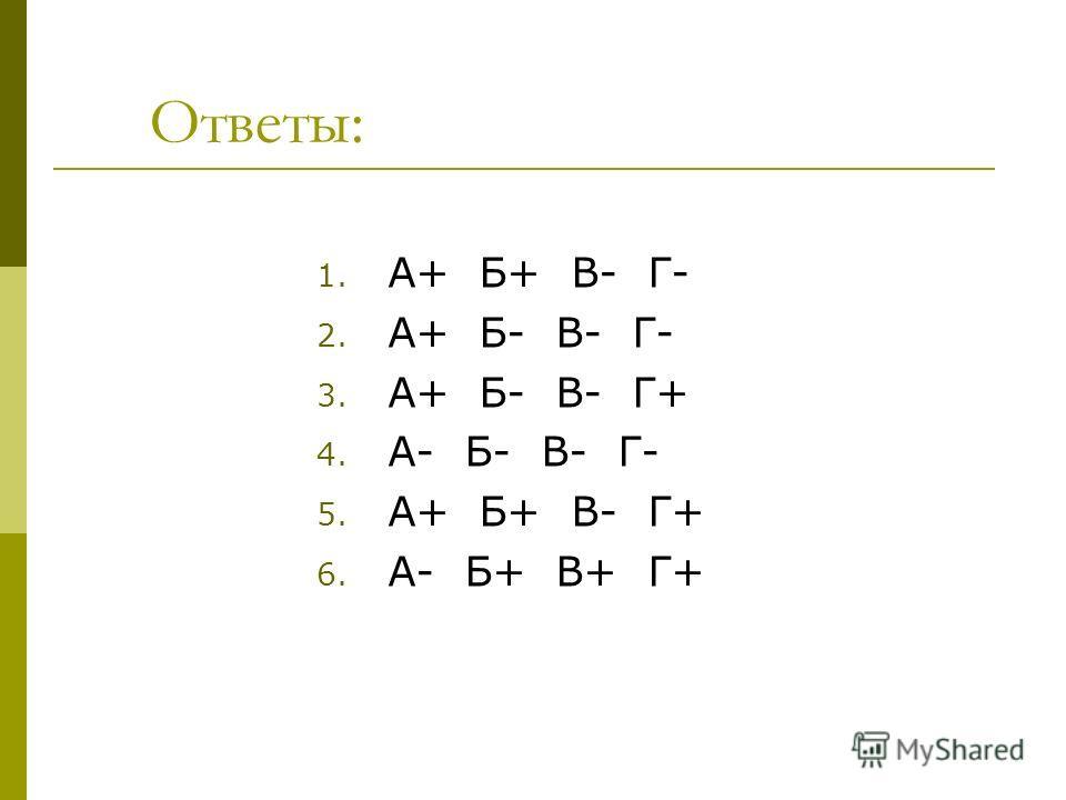 Ответы: 1. А+ Б+ В- Г- 2. А+ Б- В- Г- 3. А+ Б- В- Г+ 4. А- Б- В- Г- 5. А+ Б+ В- Г+ 6. А- Б+ В+ Г+