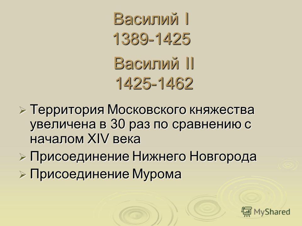 Василий I 1389-1425 Территория Московского княжества yвеличена в 30 раз по сравнению с началом XIV века Территория Московского княжества yвеличена в 30 раз по сравнению с началом XIV века Присоединение Нижнего Новгорода Присоединение Нижнего Новгород