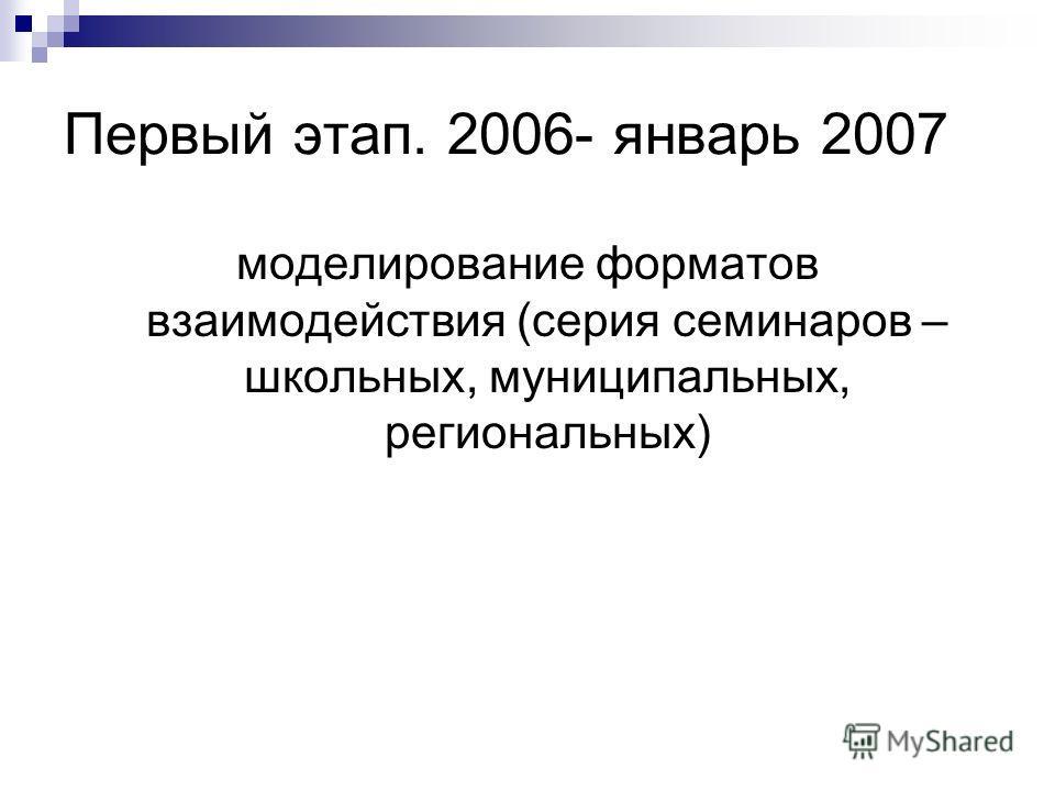 Первый этап. 2006- январь 2007 моделирование форматов взаимодействия (серия семинаров – школьных, муниципальных, региональных)