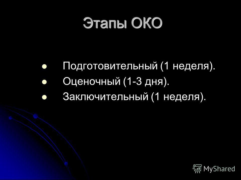 Этапы ОКО Этапы ОКО Подготовительный (1 неделя). Оценочный (1-3 дня). Заключительный (1 неделя).