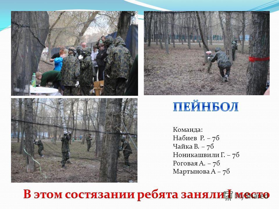 Команда: Набиев Р. – 7б Чайка В. – 7б Ноникашвили Г. – 7б Роговая А. – 7б Мартынова А – 7б