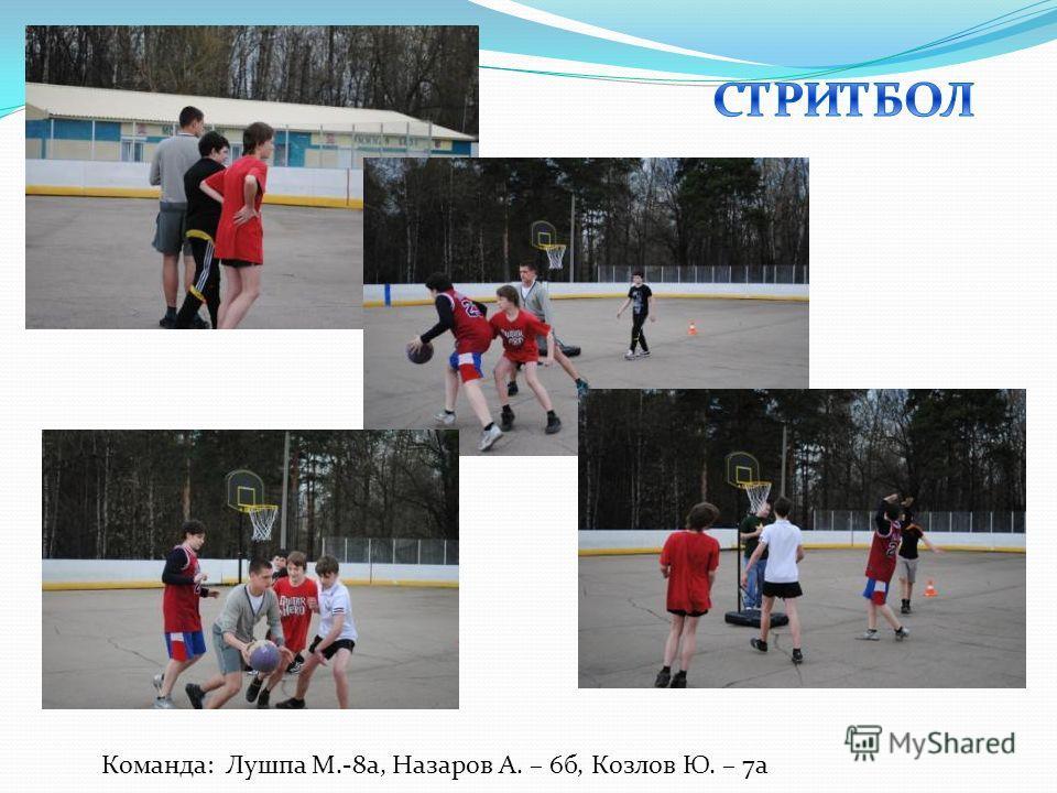 Команда: Лушпа М.-8а, Назаров А. – 6б, Козлов Ю. – 7а