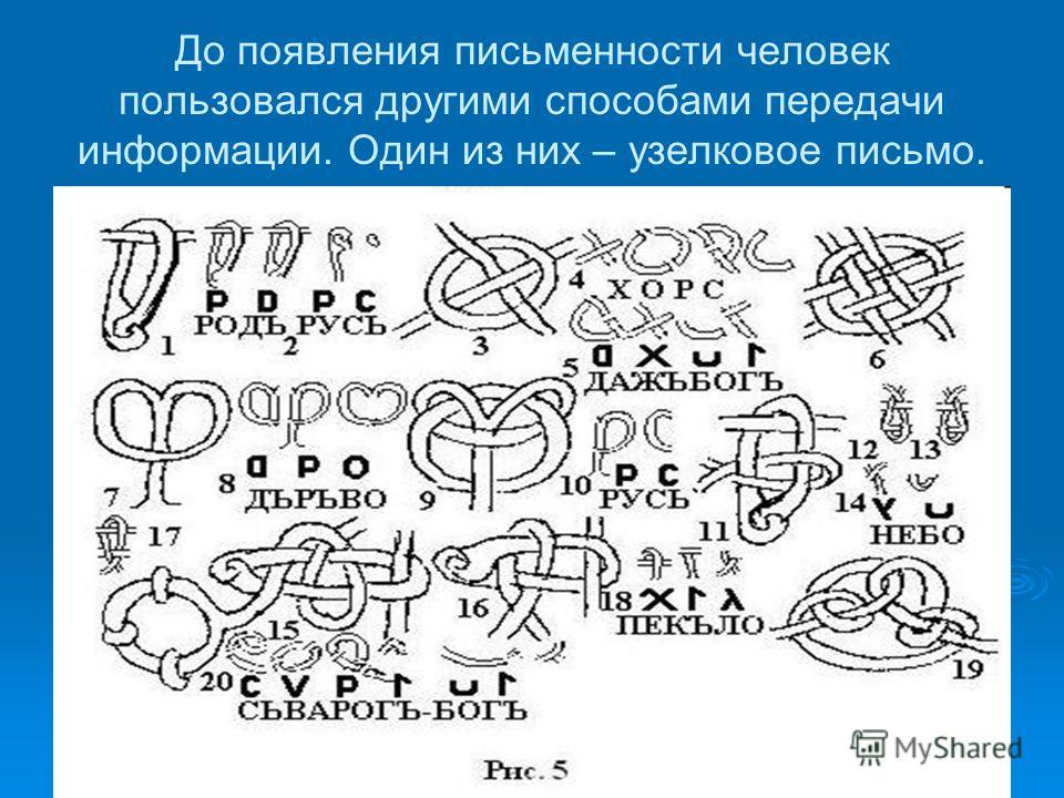 До появления письменности человек пользовался другими способами передачи информации. Один из них – узелковое письмо.