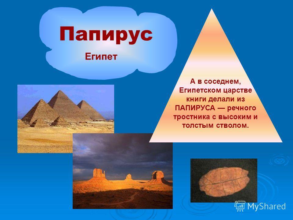 А в соседнем, Египетском царстве книги делали из ПАПИРУСА речного тростника с высоким и толстым стволом. Папирус Египет