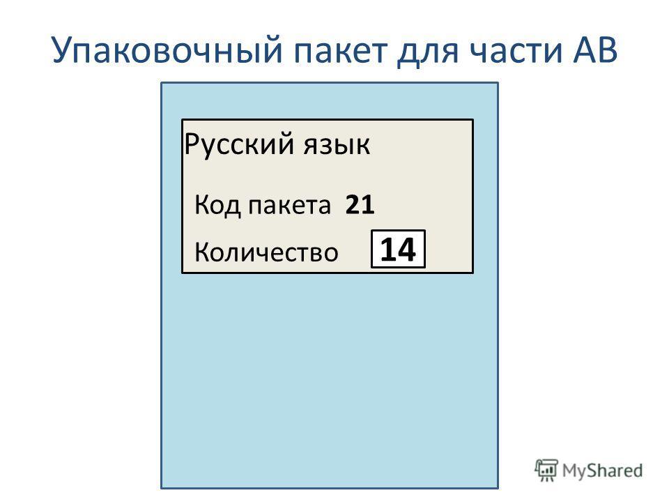 Упаковочный пакет для части АВ Русский язык Код пакета 21 Количество 14