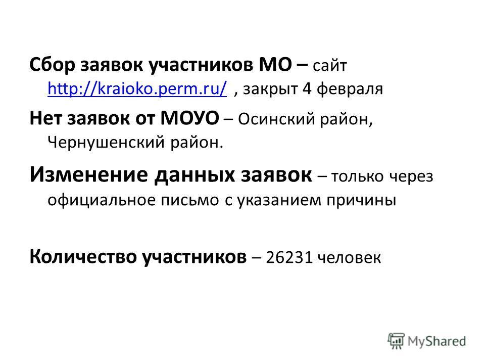 Сбор заявок участников МО – сайт http://kraioko.perm.ru/, закрыт 4 февраля http://kraioko.perm.ru/ Нет заявок от МОУО – Осинский район, Чернушенский район. Изменение данных заявок – только через официальное письмо с указанием причины Количество участ