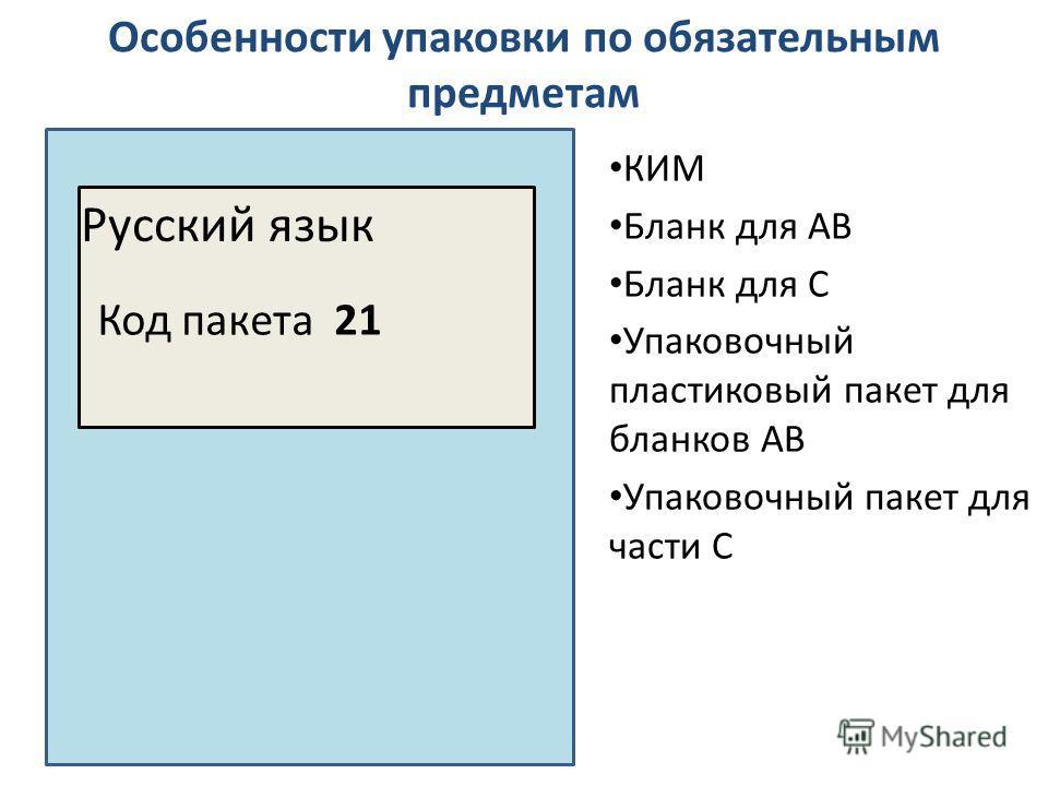 Особенности упаковки по обязательным предметам Русский язык Код пакета 21 КИМ Бланк для АВ Бланк для С Упаковочный пластиковый пакет для бланков АВ Упаковочный пакет для части С