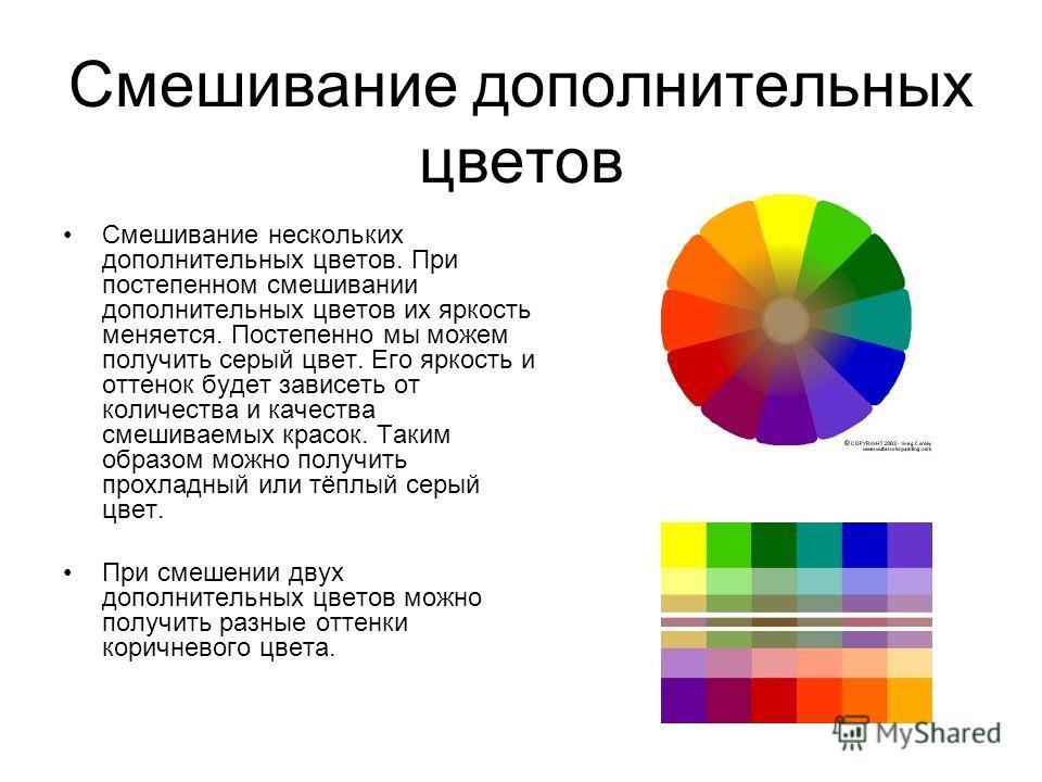 Смешивание дополнительных цветов Смешивание нескольких дополнительных цветов. При постепенном смешивании дополнительных цветов их яркость меняется. Постепенно мы можем получить серый цвет. Его яркость и оттенок будет зависеть от количества и качества