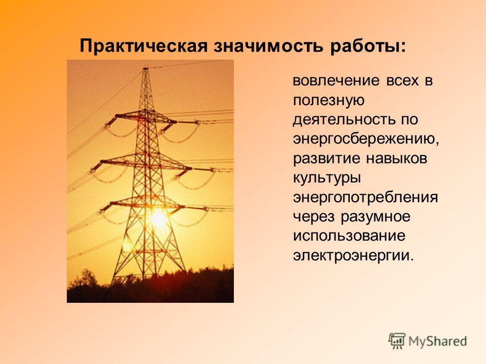 Практическая значимость работы: вовлечение всех в полезную деятельность по энергосбережению, развитие навыков культуры энергопотребления через разумное использование электроэнергии.