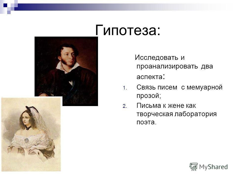 Гипотеза: Исследовать и проанализировать два аспекта : 1. Связь писем с мемуарной прозой; 2. Письма к жене как творческая лаборатория поэта.