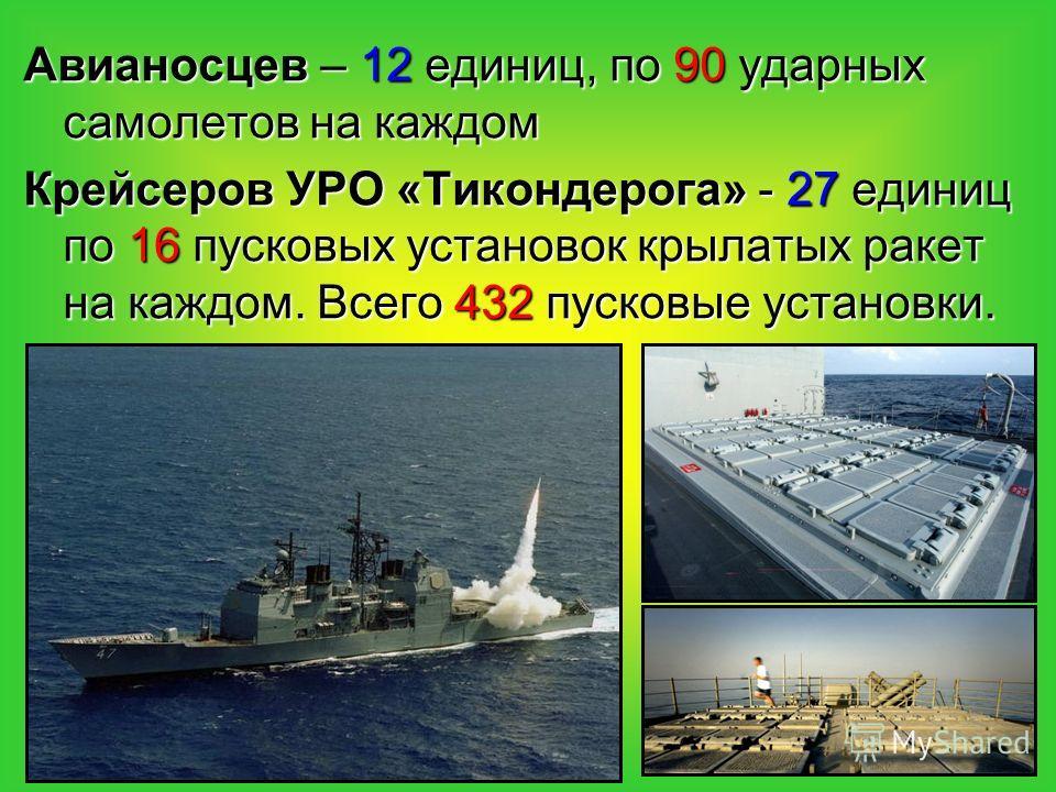 Авианосцев – 12 единиц, по 90 ударных самолетов на каждом Крейсеров УРО «Тикондерога» - 27 единиц по 16 пусковых установок крылатых ракет на каждом. Всего 432 пусковые установки.