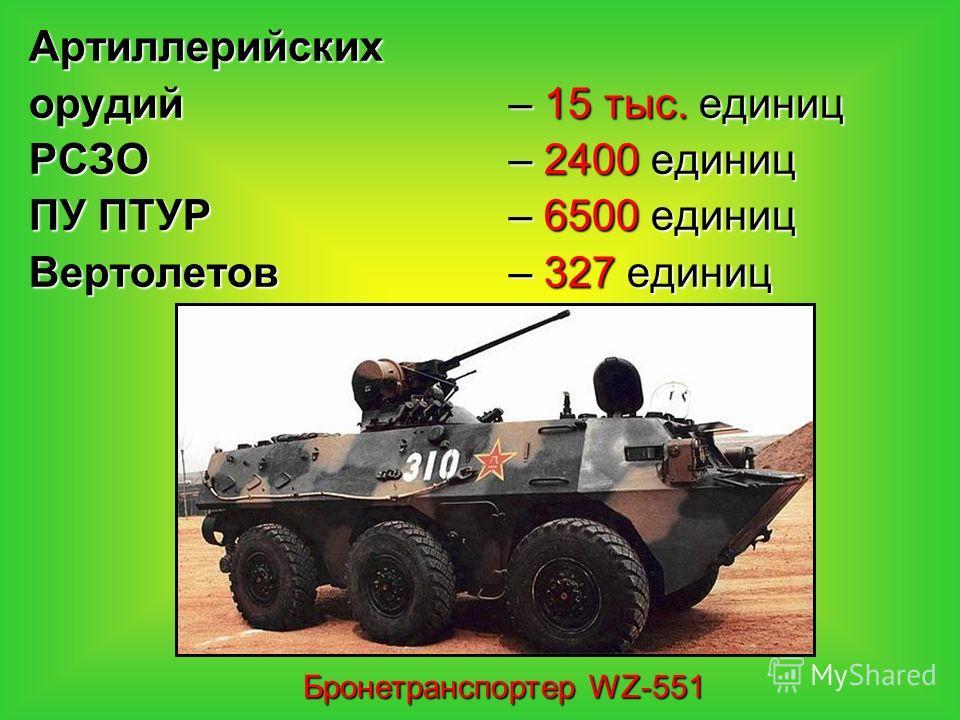 Артиллерийских орудий– 15 тыс. единиц РСЗО – 2400 единиц ПУ ПТУР – 6500 единиц Вертолетов – 327 единиц Бронетранспортер WZ-551