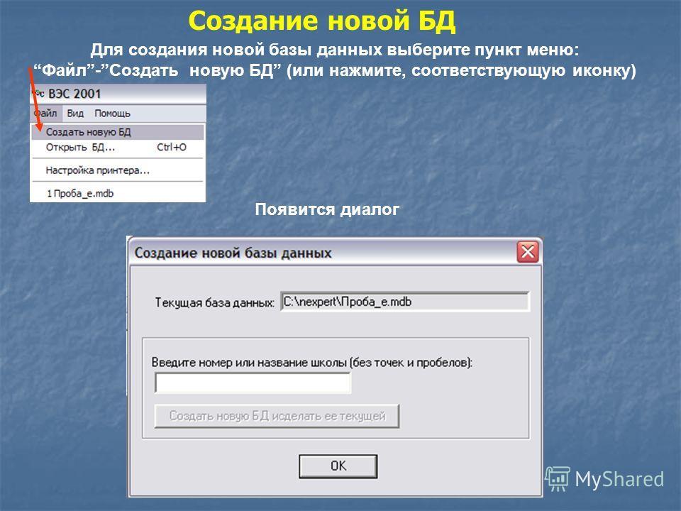 Для создания новой базы данных выберите пункт меню: Файл-Создать новую БД (или нажмите, соответствующую иконку) Создание новой БД Появится диалог