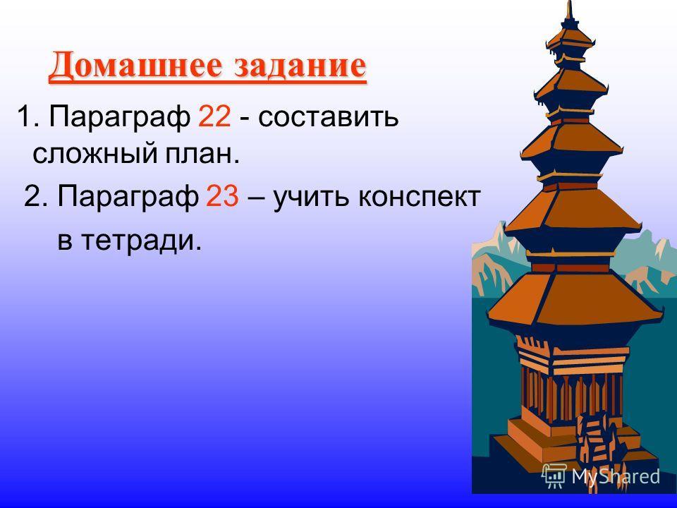 Домашнее задание 1. Параграф 22 - составить сложный план. 2. Параграф 23 – учить конспект в тетради.
