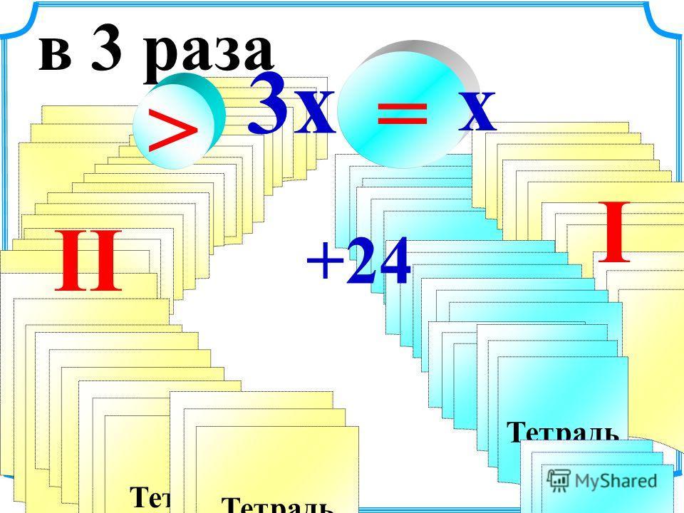 Тетрадь в 3 раза > Тетрадь II Тетрадь +24 I =