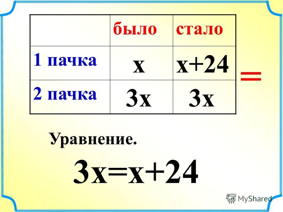 Тетрадь в 3 раза > Тетрадь = II Тетрадь x 3x +24 I