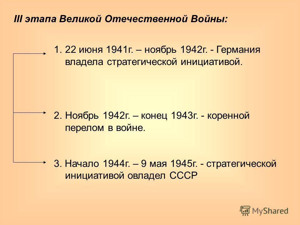 III этапа Великой Отечественной Войны: 1.22 июня 1941г. – ноябрь 1942г. - Германия владела стратегической инициативой. 2.Ноябрь 1942г. – конец 1943г. - коренной перелом в войне. 3. Начало 1944г. – 9 мая 1945г. - стратегической инициативой овладел ССС