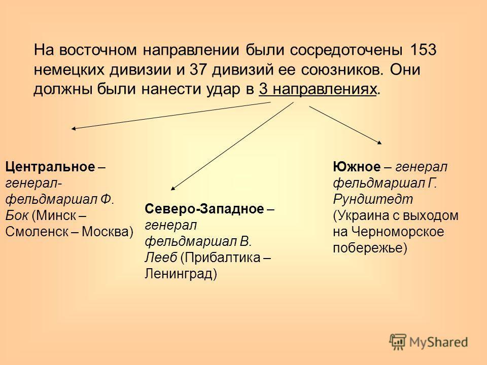 На восточном направлении были сосредоточены 153 немецких дивизии и 37 дивизий ее союзников. Они должны были нанести удар в 3 направлениях. Центральное – генерал- фельдмаршал Ф. Бок (Минск – Смоленск – Москва) Северо-Западное – генерал фельдмаршал В.
