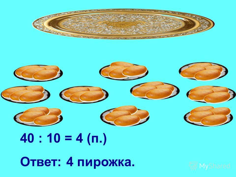 40 : 10 = 4 (п.) Ответ: 4 пирожка.