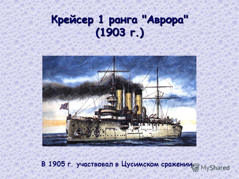 Крейсер 1 ранга Аврора (1903 г.) В 1905 г. участвовал в Цусимском сражении.