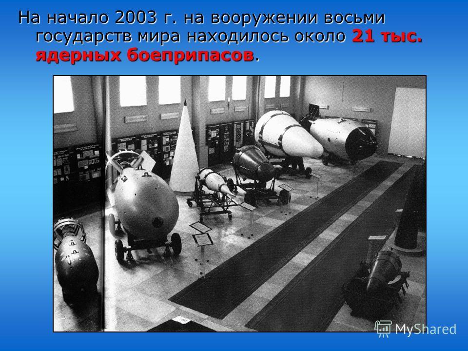 На начало 2003 г. на вооружении восьми государств мира находилось около 21 тыс. ядерных боеприпасов.