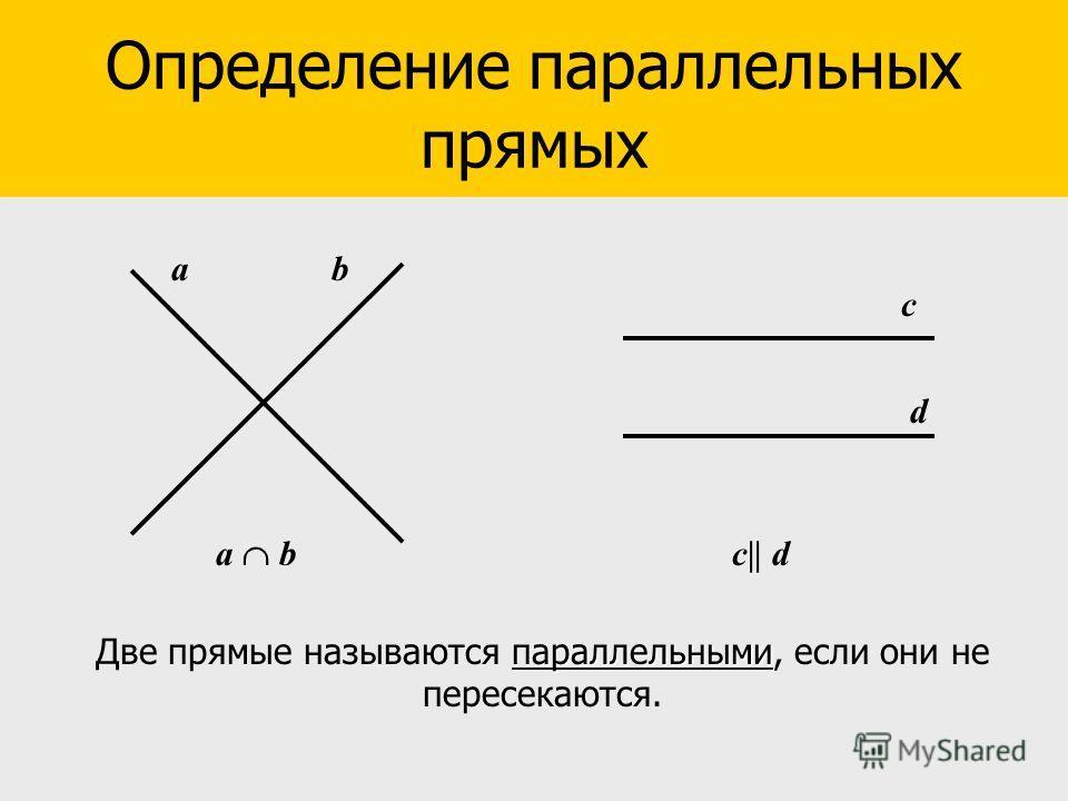 аb d c Определение параллельных прямых параллельными Две прямые называются параллельными, если они не пересекаются. а b c   d