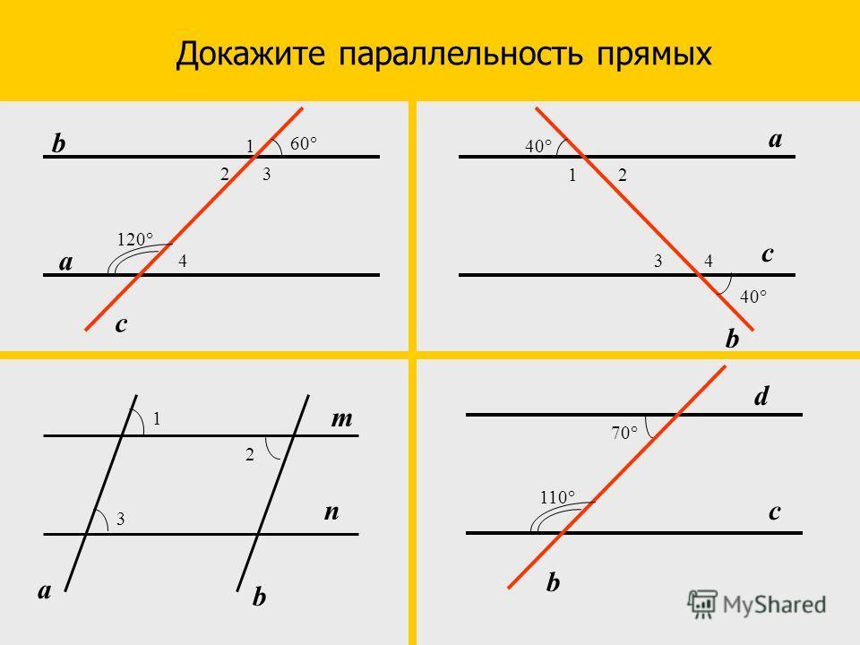 Докажите параллельность прямых 4 60 23 а b c 1 120 4 40 21 а b c 3 m n а b 1 2 3 70° c b d 110
