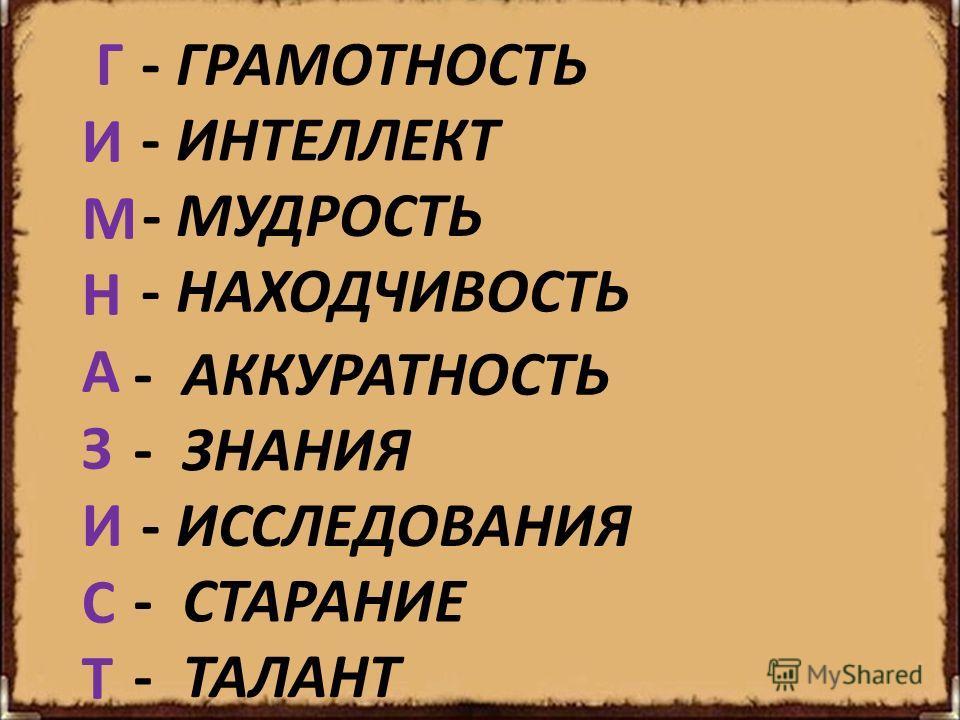 ГИМНАЗИСТ ГИМНАЗИСТ - ГРАМОТНОСТЬ - ИНТЕЛЛЕКТ - МУДРОСТЬ - НАХОДЧИВОСТЬ - АККУРАТНОСТЬ - ЗНАНИЯ - СТАРАНИЕ - ИССЛЕДОВАНИЯ - ТАЛАНТ