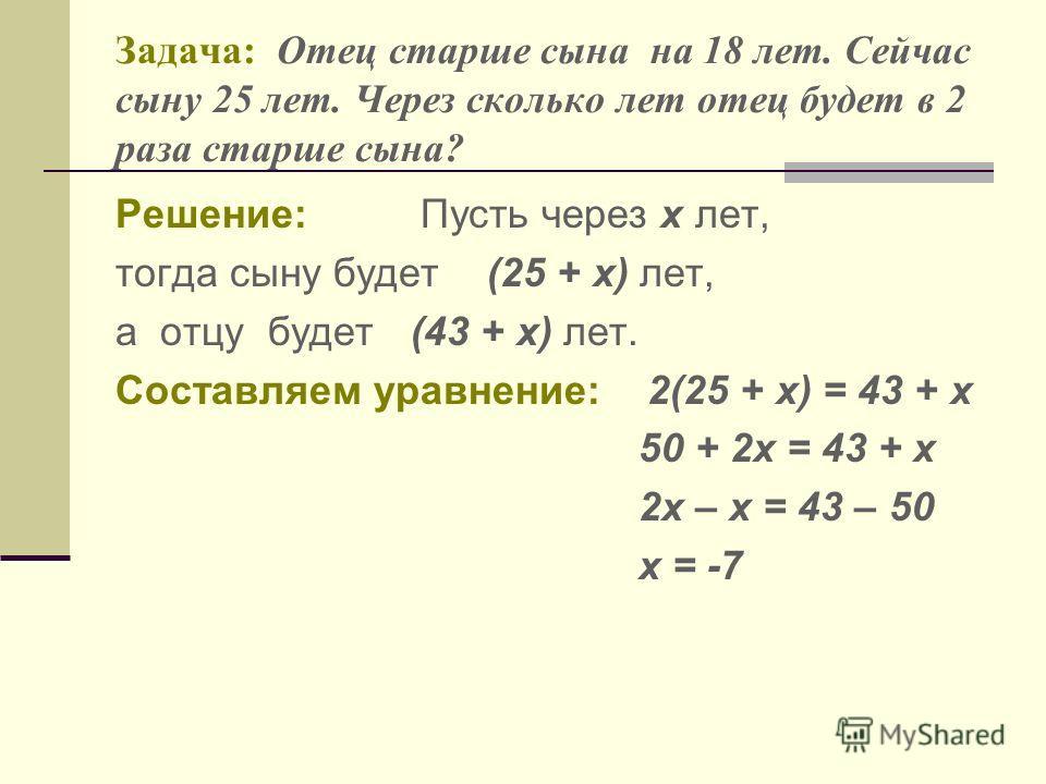 Задача: Отец старше сына на 18 лет. Сейчас сыну 25 лет. Через сколько лет отец будет в 2 раза старше сына? Решение: Пусть через х лет, тогда сыну будет (25 + х) лет, а отцу будет (43 + х) лет. Составляем уравнение: 2(25 + х) = 43 + х 50 + 2х = 43 + х