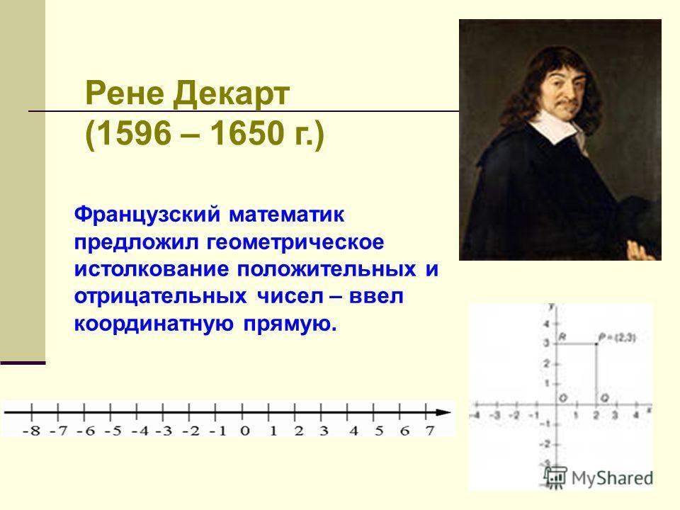 Рене Декарт (1596 – 1650 г.) Французский математик предложил геометрическое истолкование положительных и отрицательных чисел – ввел координатную прямую.